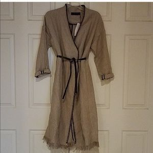Zara $150 Stipe tan linen long Duster jacket Sz s